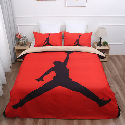 Sports Basketball Duvet Cover with Pillow Cases Bedding Set Double King Size Bed