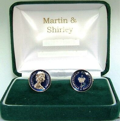 1973 Half-pence Cufflinks made from real coins in Blue & Gold