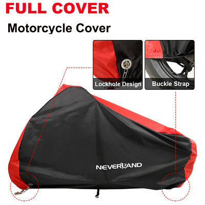M-XXXL 190T Waterproof Motorcycle Motorbike Scooter Bike Cover Outdoor Black&Red