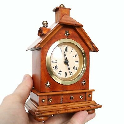JUNGHANS MANTEL Baby Mini CLOCK 1910s House Shaped!!! Antique Germany Miniature!