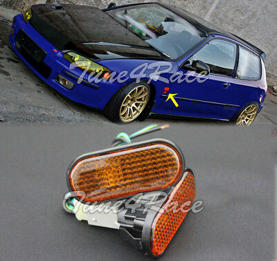 For 92-95 Civic Replacement SMOKED AMBER FLAT Side Marker Lights Lamp Si EG6