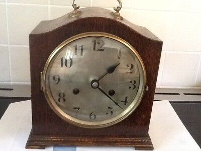 Vintage Wooden Mantle Clock With Key