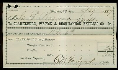 1887 Clarksburg,Weston & Buckhannon Express Co. Receipt - Weston,WV