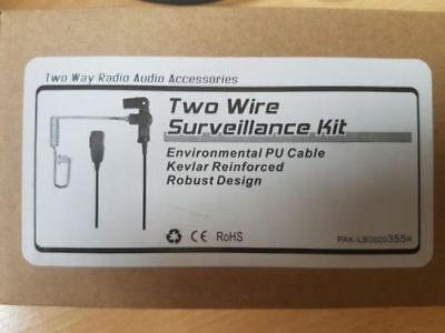 Two Wire Surveillance Kit & Rubber Earpiece - 2 Way Radio Audio - Door Security