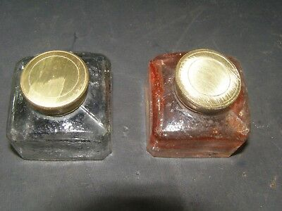 Two Antique Glass Inkwells With Brass Screw Lids