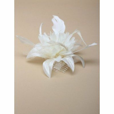 Ladies Elegant Cream Chiffon Flower and Feather Fascinator on Comb