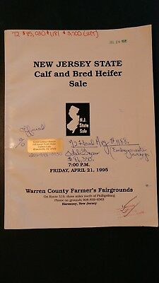 New Jersey State Holstein Dairy Cattle Sale Catalog 1995 Harmony New Jersey
