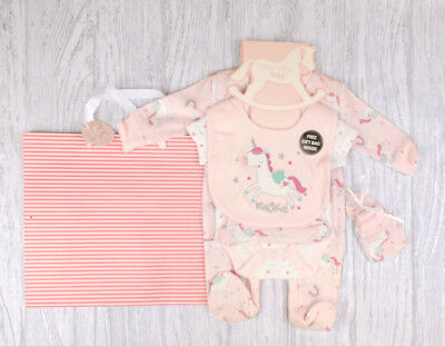 "Baby Girls Layette Set "" Magical Unicorn "" Clothing Set Outfit  & Gift Bag AW'18"
