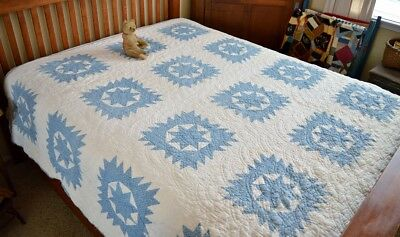 Antique Hand Stitched Calico Star Quilt *