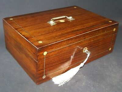 Antique Rosewood Box Working Lock & Key c 1870  Mother Of Pearl Silver Handle