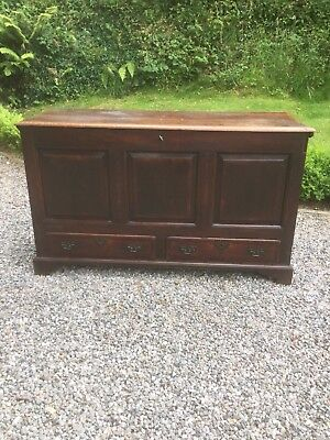 Antique Georgian English Oak Coffer Chest With Drawers Sn-120