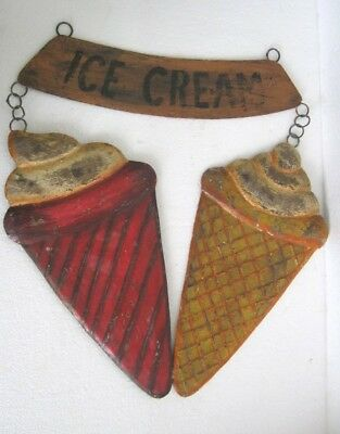 Iron Twin Ice Cream Cone Advertisement Trade  / Store Display Sign . Embossed