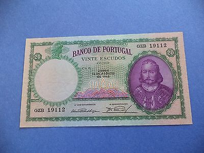 Portugal   20   Escudos    1946  Good Note    [ Kay Date ]