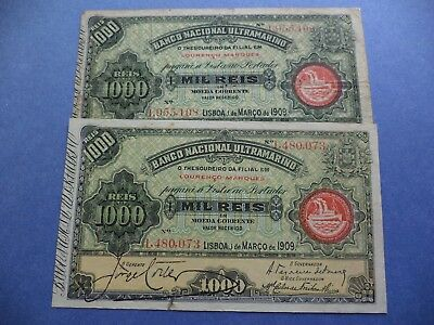 Portugal  Mozambique    2   Notes  1.000  Reis    1909  ( Very Rare  Notes
