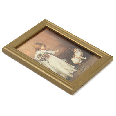 1:12 Dollhouse Miniature Accs Framed Girl With Cat Kitten Painting Picture