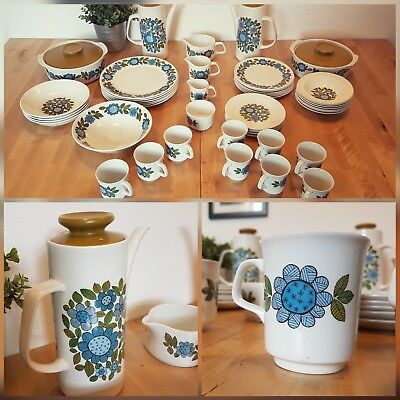 """50 pc J&G Meakin """"Topic"""" 1960s coffee pot set vintage retro dinner cups plates"""