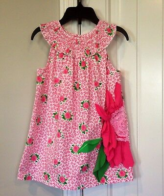 Mud Pie boutique girls pink floral sleeveless tunic shirt or dress size 5/5T
