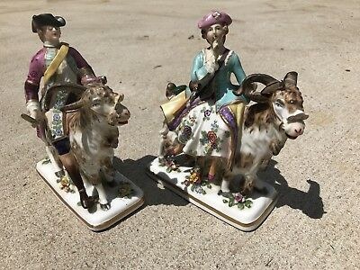 Antique Meissen German Marked Signed Porcelain Goat Cowboys? ;] Derby Dresden
