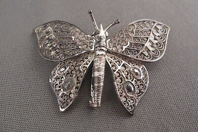 Vintage German Sterling Filigree Articulating Life Size Butterfly Pin Brooch