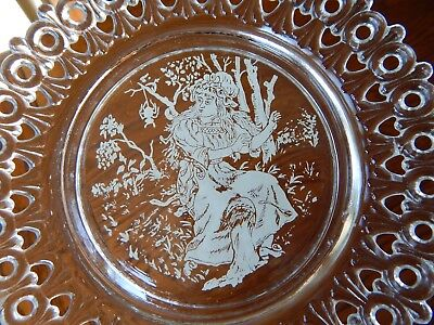 Antique Pressed Glass Egg & Dart Miss Muffet Nursery Rhyme Lace Edge Plate 1889