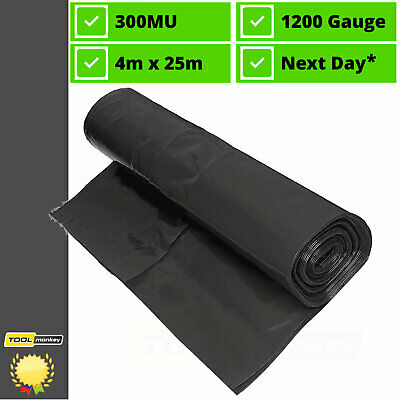 DAMP PROOF MEMBRANE 4M x 25M DPM Polythene Sheet Black 1200g 300mu NEXT DAY* FOC