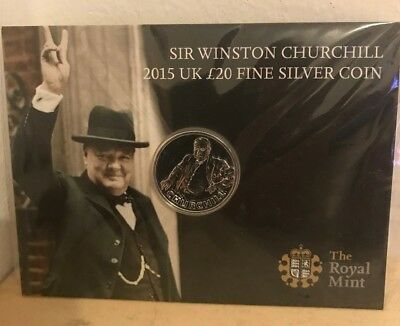 2015 Royal Mint £20 Sir Winston Churchill Silver Coin