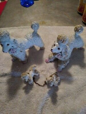 Lot of vintage poodles, 2 large & 2 small connected by chain