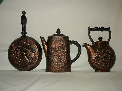 3 Piece Homco Home Interiors Wall Plaques Skillet Pan Coffee Copper Look 1972