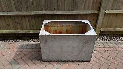 Galvanized Metal Water Tank - riveted - garden - table - Silver Grey