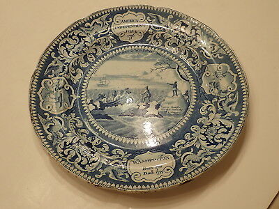 Antique Historical Enoch Wood & Sons Blue Transferware Plate America Independent