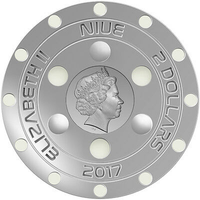 Niue 2$ 2017 Silver UFO domed glow-in-the-dark coin - 70 years Roswell incident