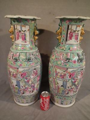 "Pair Large 24"" Antique Chinese Export Famille Rose Mandarin Vases - Warriors"