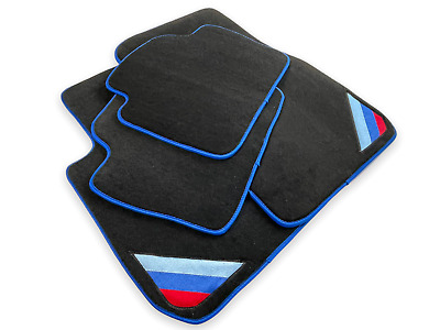 Floor Mats For BMW M5 Series F10 Black Blue Rounds With /// Power Emblem LHD NEW