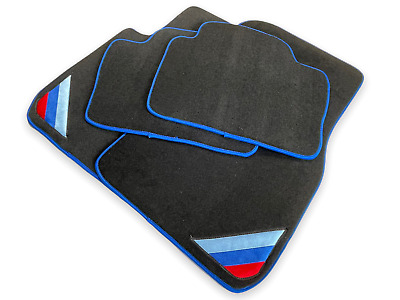 Floor Mats For BMW M3 Series E92 Black Blue Rounds With /// Power Emblem LHD NEW