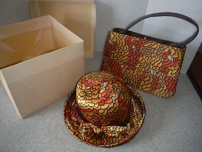 Vintage Women's Arlington Matching Hat & Purse - Satin - Sunburst Fall Colors