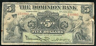 1925 $5 The Dominion Bank Toronto Canada Chartered Banknote #220-16-14