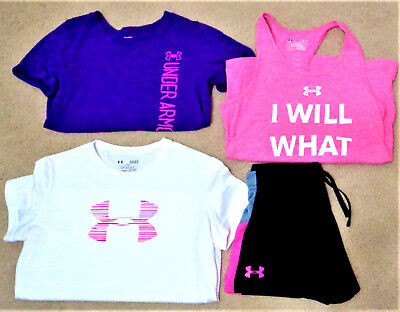 UNDER ARMOUR Youth Girls Mixed Lot Shirts & Shorts  HEAT GEAR Size YLG