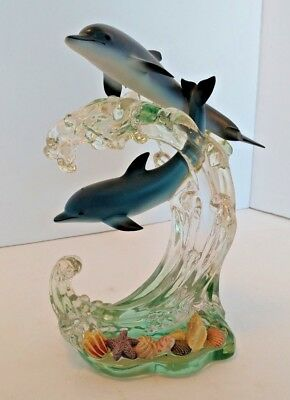 LENOX 2000 Wave Divers Sculpture Dolphins Figurine