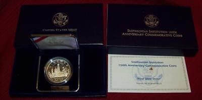 1996 Proof Silver Dollar Smithsonian Institution 150Th Commemoratives Coin  $1