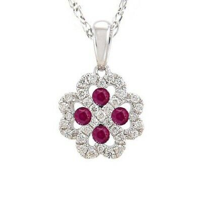 """.42ct Red Ruby & Natural Diamond HEART Infinity Flower Pendant Necklace 18"""""""