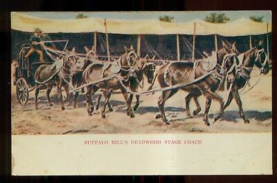 "1905 Buffalo Bill's Deadwood Stage Coach ""Wild West Show"" Postcard"