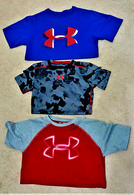 UNDER ARMOUR Youth Boys SS Shirt Lot of 3 HEAT GEAR BACK TO SCHOOL Size YMD