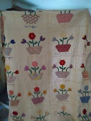 Vintage antique handmade quilt dated 1938, estate find, family names