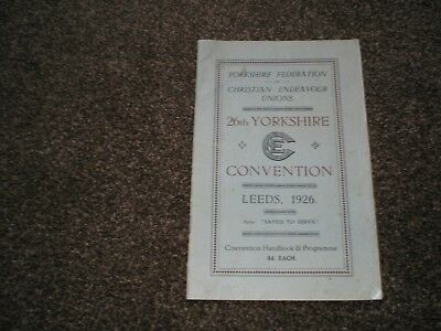 Yorks Federation of Christian Endeavour Unions 26th Yorkshire Convention 1926