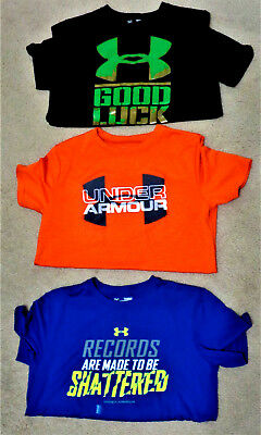 UNDER ARMOUR Youth Boys SS Shirt Lot of 3 HEAT GEAR BACK TO SCHOOL Size YLG