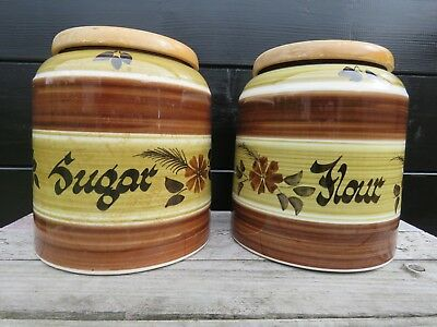 Vintage 1970s Toni Raymond Pottery Flour & Sugar Storage Jars Quirky Vase? Retro