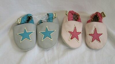 2 x Pairs Baby Girls Tula2Shoes Soft Leather Baby Shoes Large 12-18 months