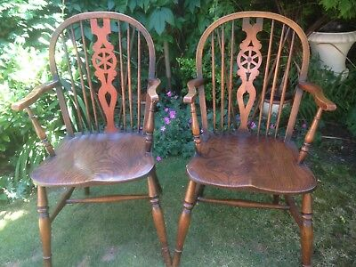 Handsome Pair Antique Wheel Back Windsor Arm Chairs or Carvers, Fireside, Dining