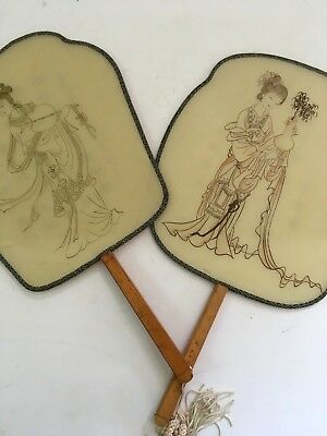 Pair Of Vintage Chinese Silk & Bamboo Hand Painted Dressing Table Hand Fans
