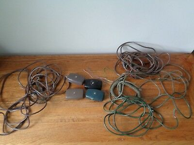 4 Vintage GPO phone sockets and 2 leads/cables